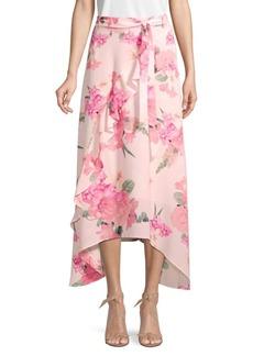 Calvin Klein Floral Asymmetrical Ruffle Skirt