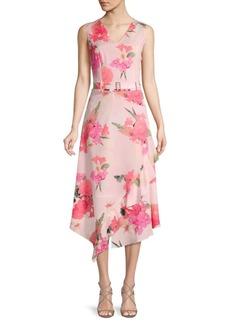 Calvin Klein Floral Belted Fit-&-Flare Dress