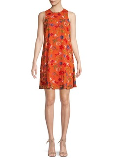 Calvin Klein Floral Chiffon Shift Dress