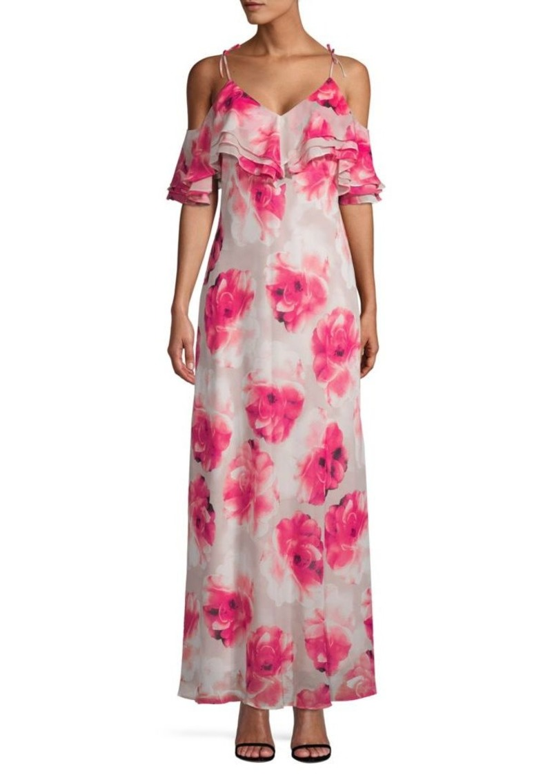 Calvin Klein Floral Cold Shoulder Maxi Dress