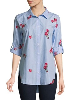 Calvin Klein Floral Cotton Button-Down Shirt