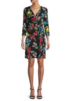 Calvin Klein Floral Faux-Wrap Sheath Dress