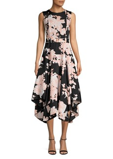 Calvin Klein Floral Fit-&-Flare Midi Dress