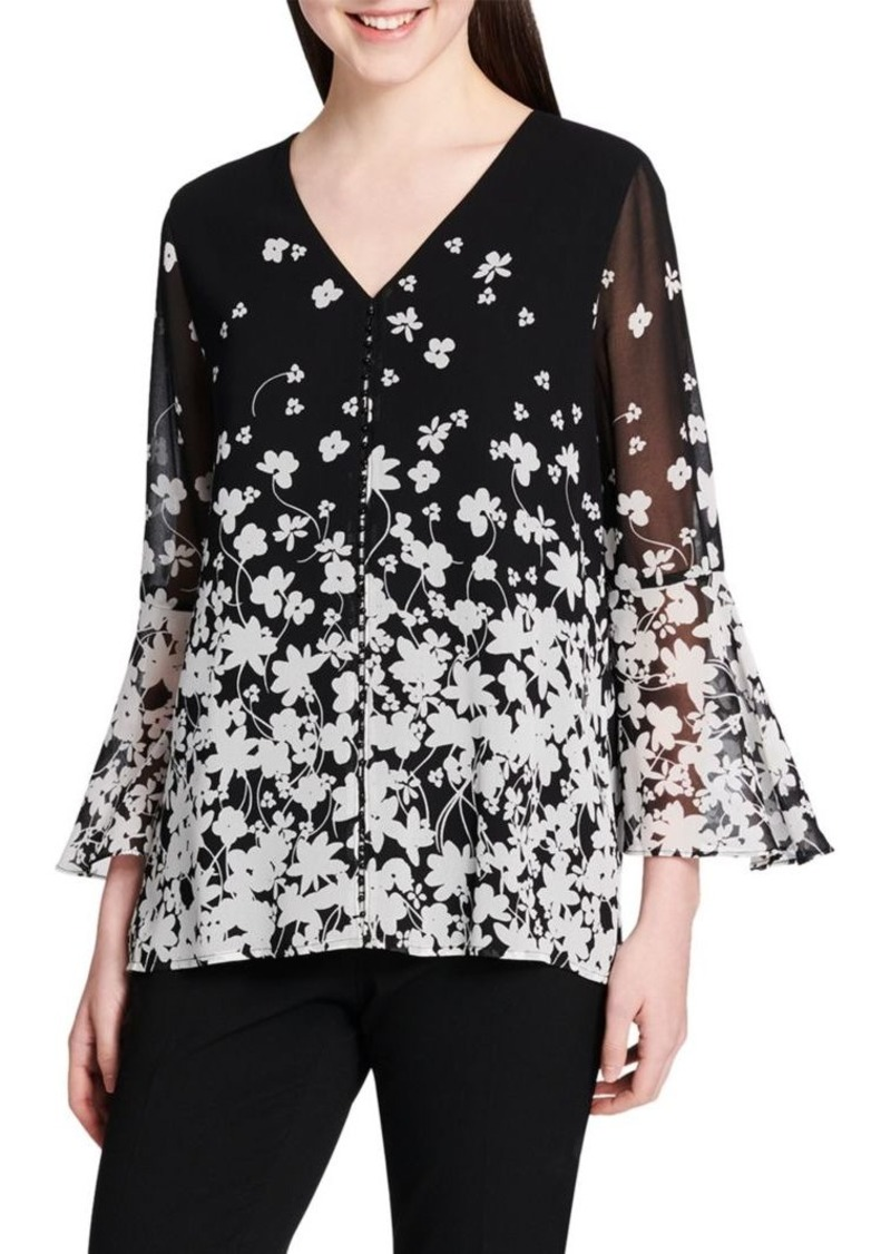 Calvin Klein Floral Flare Sleeve Blouse