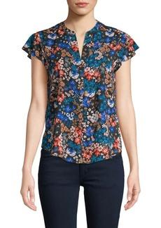 Calvin Klein Floral Flutter-Sleeve Top