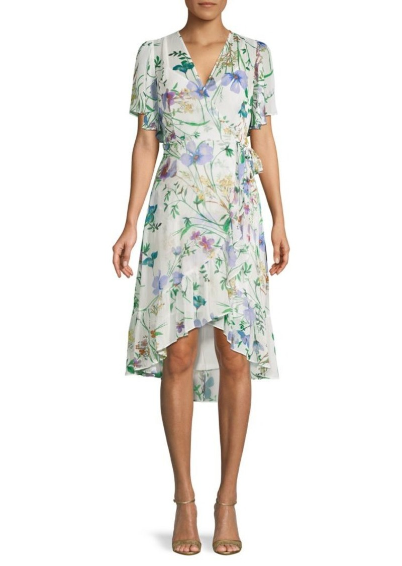 Calvin Klein Floral High-Low Faux Wrap Dress