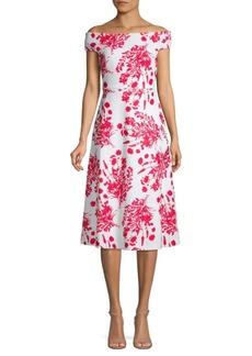 Calvin Klein Floral Off-The-Shoulder A-Line Dress
