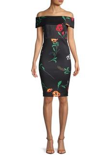 Calvin Klein Floral Off-The-Shoulder Sheath Dress