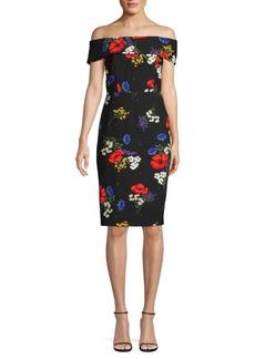 Calvin Klein Floral Off-The-Shoulder Sheath Dress