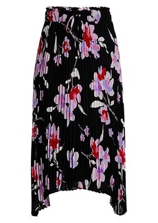 Calvin Klein Floral Pleated Drawstring Skirt