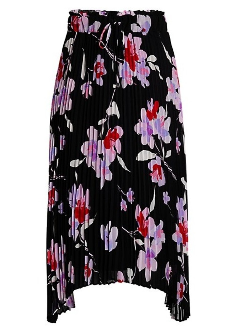 Calvin Klein Floral Pleated Drawstring Skirt
