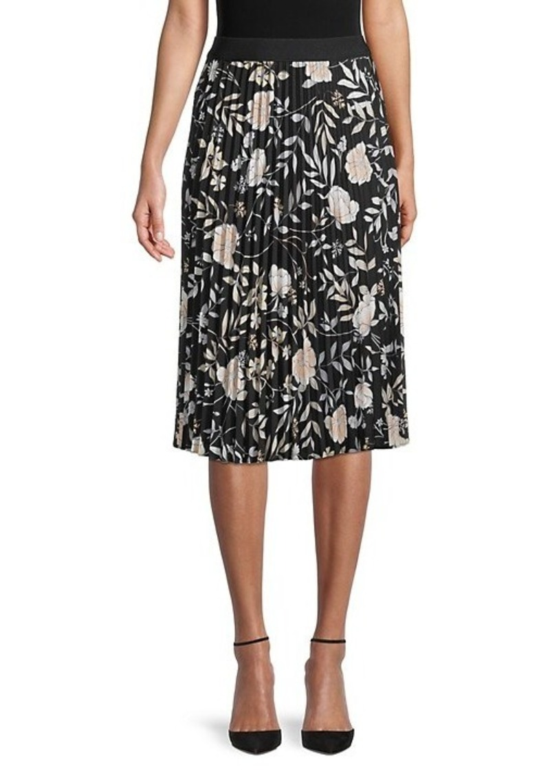 Calvin Klein Floral Pleated Skirt