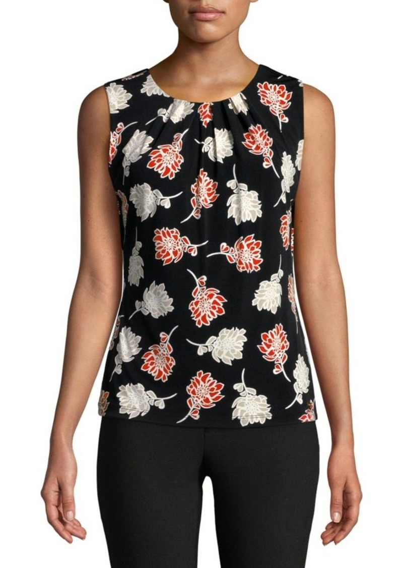 Calvin Klein Floral Pleated Top