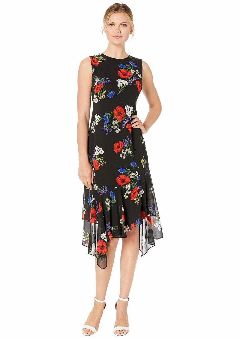 Calvin Klein Floral Print Chiffon Dress