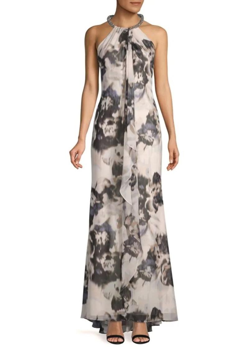 Calvin Klein Floral-Print Embellished Neck Halter Gown