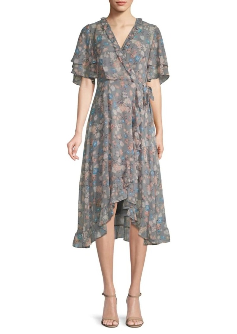 Calvin Klein Floral-Print Faux Wrap Dress