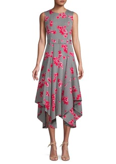 Calvin Klein Floral-Print Handkerchief Fit-&-Flare Dress