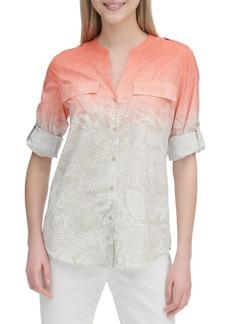 Calvin Klein Floral-Print Long-Sleeve Top