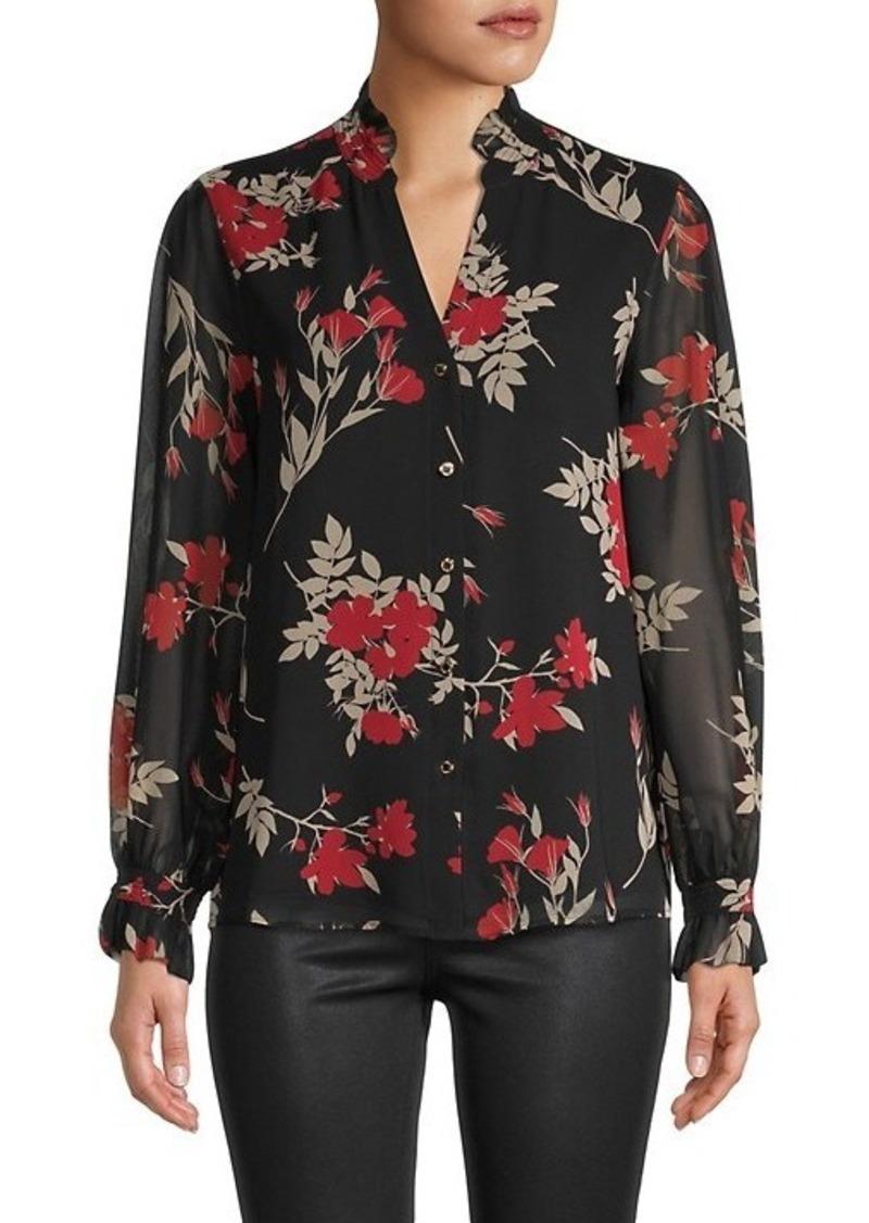 Calvin Klein Floral-Print Sheer Shirt