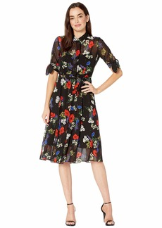 Calvin Klein Floral Print Shirtdress with Belt