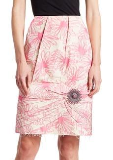 Calvin Klein Floral Print Silk Brooch Skirt