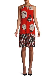 Calvin Klein Floral-Print Sleeveless Knee-Length Dress