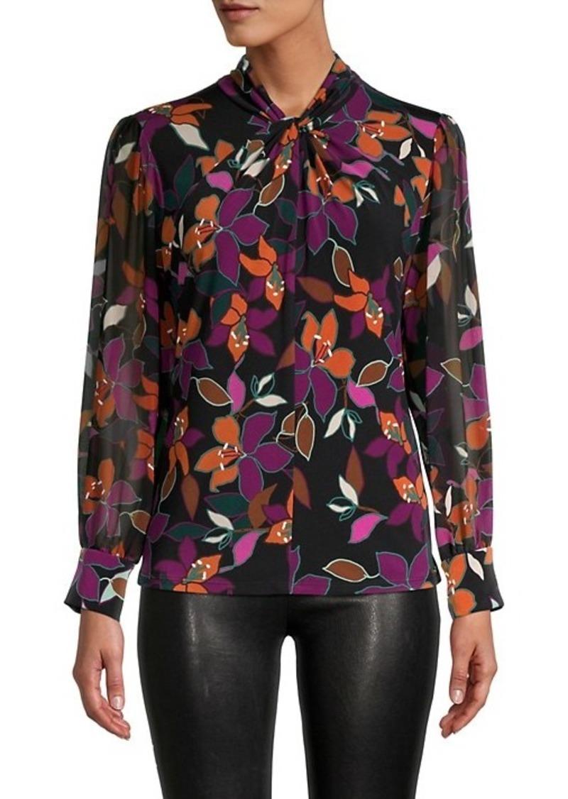 Calvin Klein Floral-Print Twist Neck Blouse