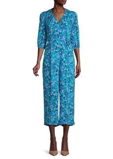 Calvin Klein Floral-Print V-Neck Jumpsuit