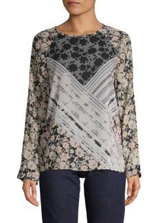 Calvin Klein Floral Raglan-Sleeve Top
