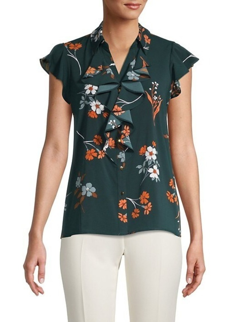Calvin Klein Floral Ruffle Button-Down Top