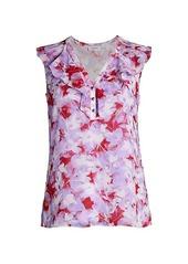 Calvin Klein Floral Ruffle Sleeveless Top