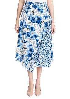 Calvin Klein Floral Ruffled Handkerchief Midi Skirt