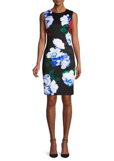 Calvin Klein Rose Print Sheath Dress