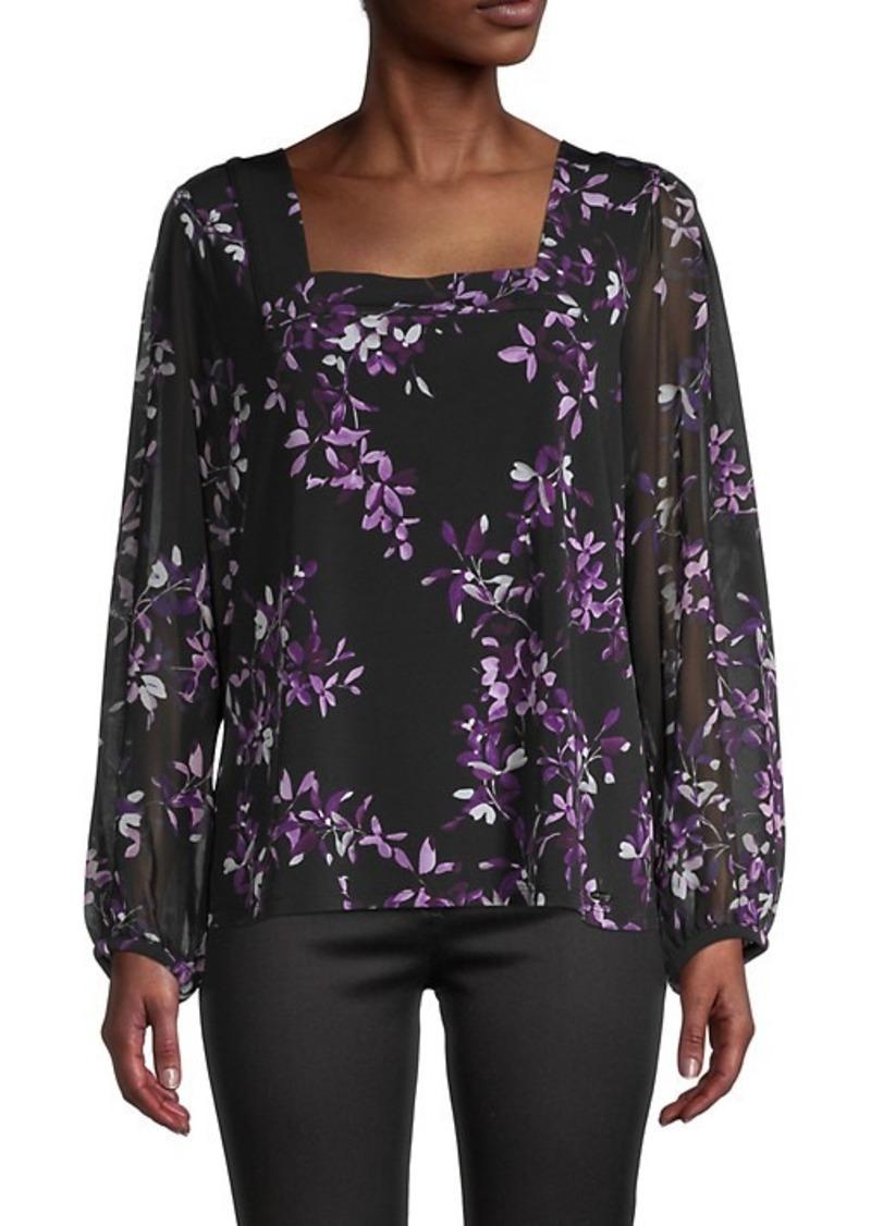 Calvin Klein Floral Sheer-Sleeve Top