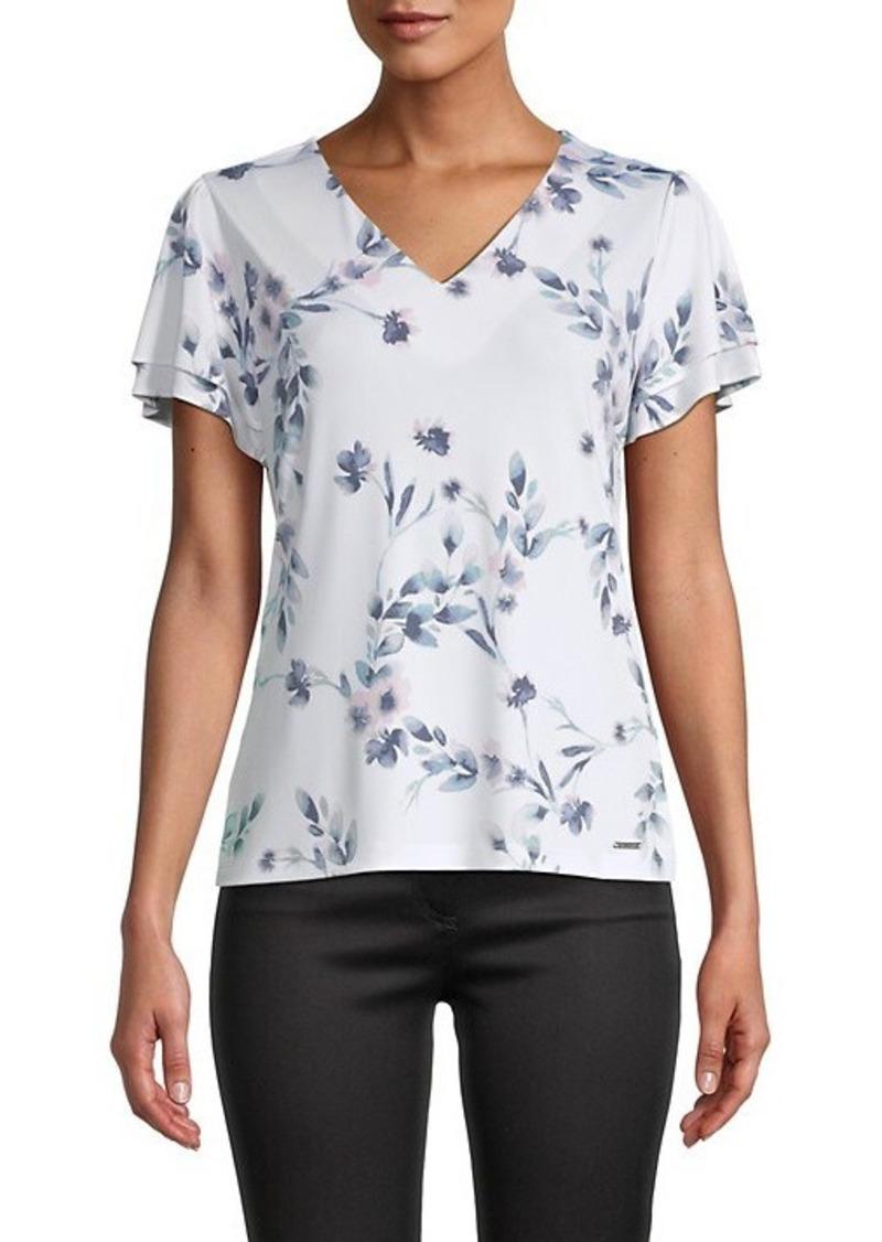 Calvin Klein Floral Tiered-Sleeve Top