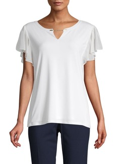 Calvin Klein Flutter-Sleeve Cut-Out Top