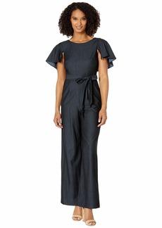 Calvin Klein Flutter Sleeve Jumpsuit w/ Tie Belt