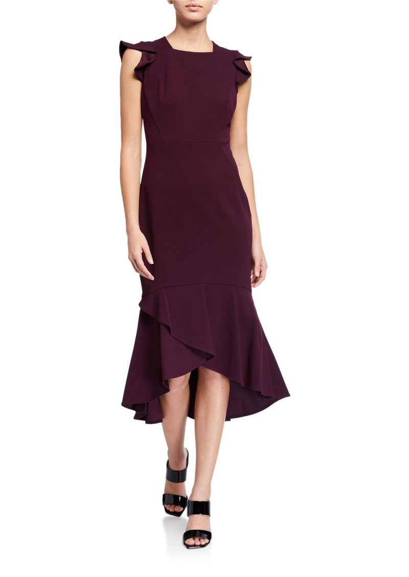 Calvin Klein Flutter-Sleeve Square Neck Midi Dress