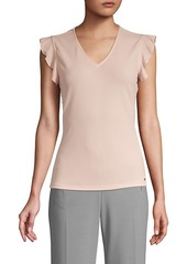 Calvin Klein Flutter-Sleeve V-Neck Top