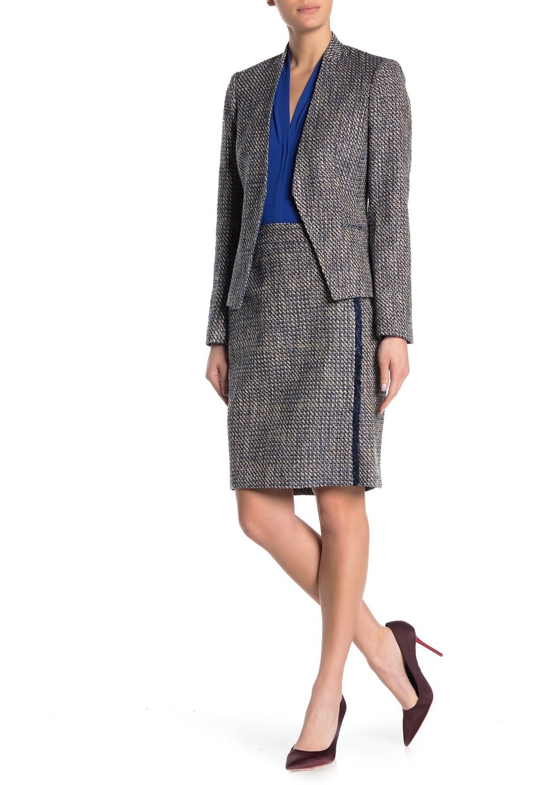 Calvin Klein Fringe Stripe Tweed Skirt