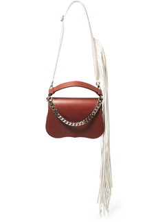 Calvin Klein Fringed chain-trimmed leather shoulder bag