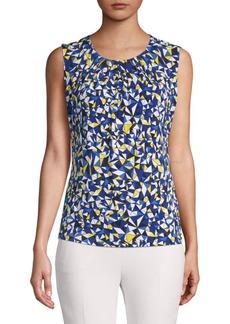 Calvin Klein Geometric Pleated Sleeveless Blouse