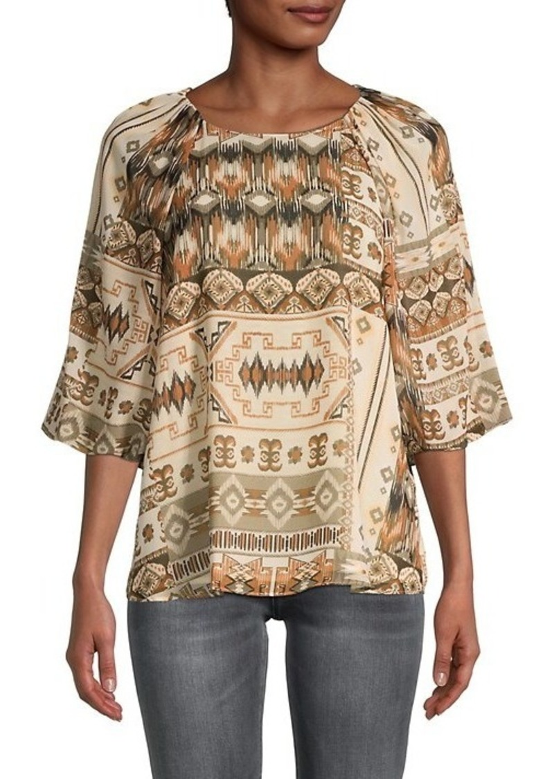 Calvin Klein Geometric-Print Puffed-Sleeve Top
