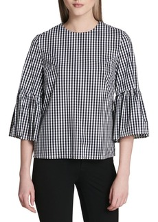 Calvin Klein Gingham Bell-Sleeve Top