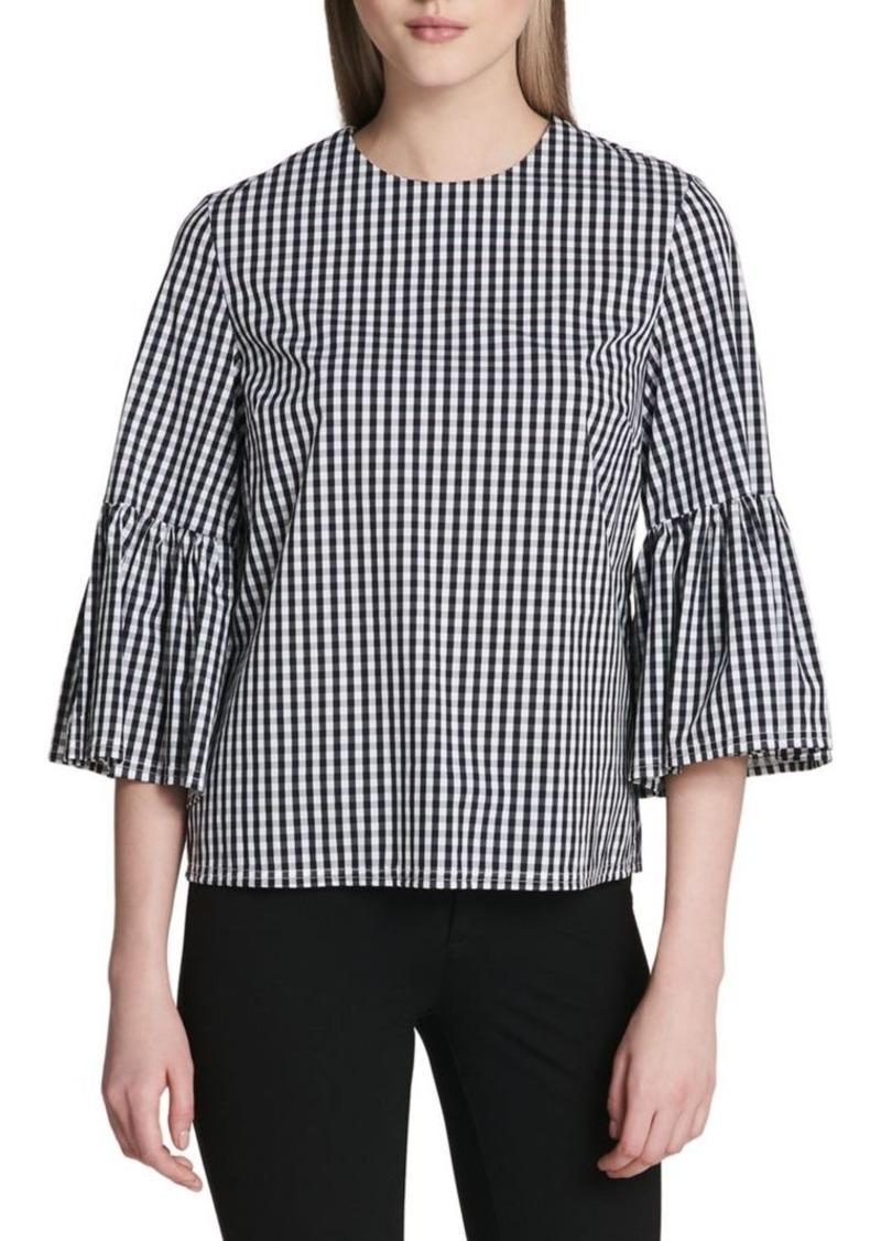 Calvin Klein Gingham Bell-Sleeve Top