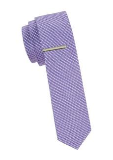 Calvin Klein Gingham Linen & Silk Blend Slim Tie