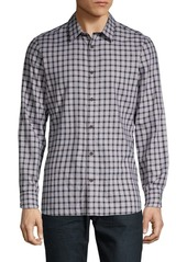 Calvin Klein Gingham Long-Sleeve Button-Down Shirt