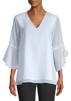 Calvin Klein Gingham Ruffled Blouse