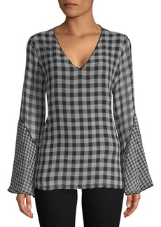 Calvin Klein Gingham V-Neck Bell-Sleeve Top