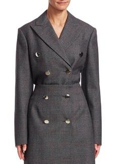 Calvin Klein Glen Plaid Wool Double Breasted Coat